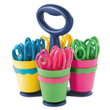 "Load image into Gallery viewer, School Scissors Caddy W/24 Pairs Of Kids' Scissors W/microban, 5"" Pointed"