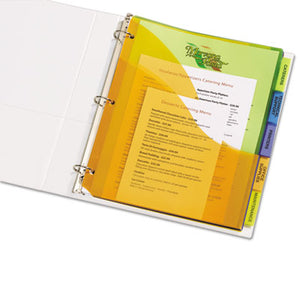 Big Tab Plastic Dividers W/three Pockets & Corner Lock, 5-Tab, 11 1/8 X 9 1/4