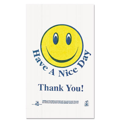 Smiley Face Shopping Bags, 12.5 Microns, White, 900/carton