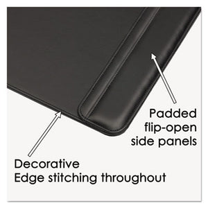 Sagamore Desk Pad W/flip-Open Side Panels, 38 X 24, Black