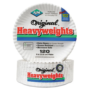 "Gold Label Coated Paper Plates, 9"" Dia, White, 120/pk, 8 Pk/ct"