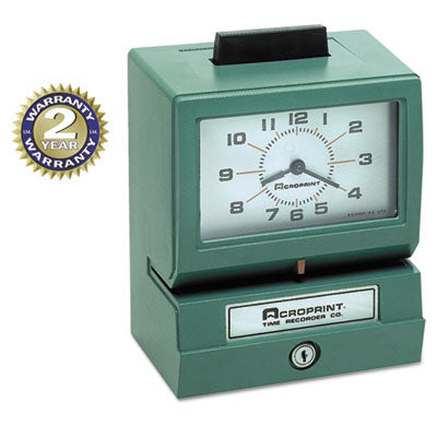 Model 125 Analog Manual Print Time Clock With Month/date/0-23 Hours/minutes