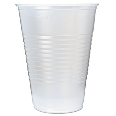 RK RIBBED COLD DRINK CUPS, 16OZ, TRANSLUCENT, 50/SLEEVE, 20 SLEEVES/CARTON