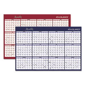 REVERSIBLE HORIZONTAL ERASABLE WALL PLANNER, 48 X 32, 2019