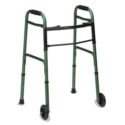 2-Button Release Folding Walker W/wheels, Green/green Ice, Aluminum, 32-38