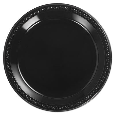 Heavyweight Plastic Plates, 10 1/4 Inches, Black, Round