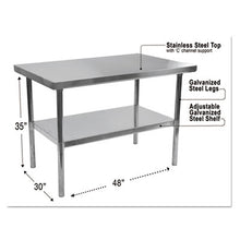 Load image into Gallery viewer, NSF APPROVED STAINLESS STEEL FOODSERVICE PREP TABLE, 48 X 30 X 35H, SILVER