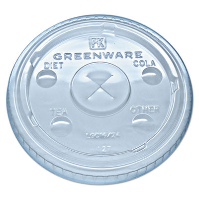 Greenware Cold Drink Lids, Fits 16-18, 24 Oz Cups, X-Slot, Clear, 1000/carton