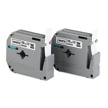 "Load image into Gallery viewer, M Series Tape Cartridges For P-Touch Labelers, 1/2""w, Black On White, 2/pack"