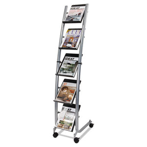 Mobile Literature Display, 13 3/8w X 20 1/8d X 65 3/8h, Silver Gray/black