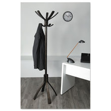 Load image into Gallery viewer, Cafe Wood Coat Stand, Ten Peg/five Hook, 21 2/3 X 21 2/3 X 69 1/3 Espresso Brown
