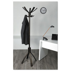 Cafe Wood Coat Stand, Ten Peg/five Hook, 21 2/3 X 21 2/3 X 69 1/3 Espresso Brown