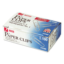 Load image into Gallery viewer, Premium Paper Clips, Smooth, #1, Silver, 100/box, 10 Boxes/pack