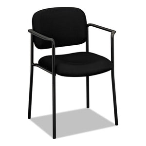 Vl616 Series Stacking Guest Chair With Arms, Black Fabric