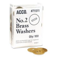 "Load image into Gallery viewer, Washers For Two-Piece Paper Fasteners, 1/2"" Cap, 1 1/4"" Diameter, Gold, 100/box"