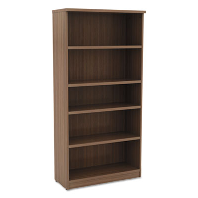 Alera Valencia Series Bookcase, Five-Shelf, 31 3/4w X 14d X 65h, Modern Walnut