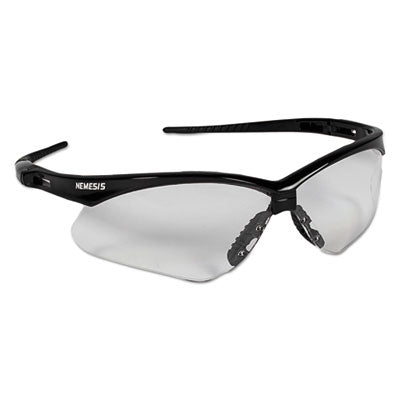 Nemesis Safety Glasses, Black Frame, Clear Lens