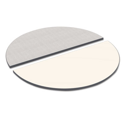 Reversible Laminate Table Top, Half Round, 48w X 24d, White/gray
