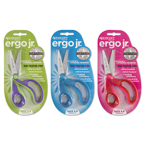 "Ergo Jr. Kids' Scissors, Pointed Tip, 5"" Long, 1 1/2"" Cut, Right Hand, Assorted"
