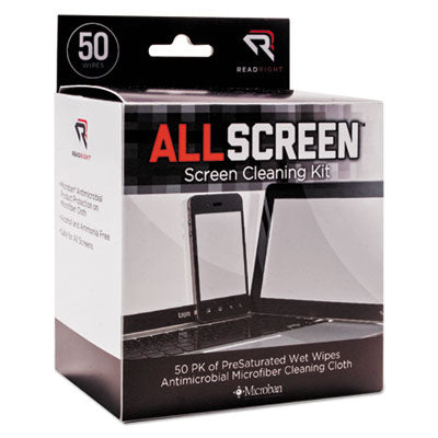 Allscreen Screen Cleaning Kit, 50 Wipes, 1 Microfiber Cloth