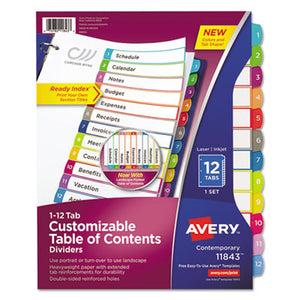 CUSTOMIZABLE TOC READY INDEX MULTICOLOR DIVIDERS, 1-12, LETTER