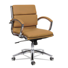 Load image into Gallery viewer, Alera Neratoli Low-Back Slim Profile Chair, Camel Soft Leather, Chrome Frame