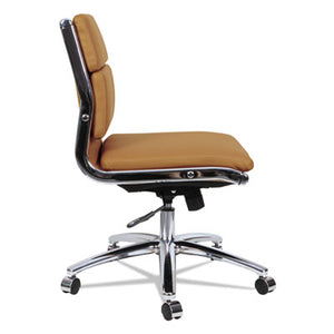 Alera Neratoli Low-Back Slim Profile Chair, Camel Soft Leather, Chrome Frame