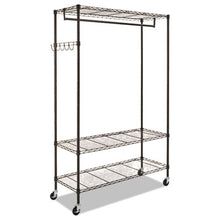 Load image into Gallery viewer, Wire Shelving Garment Rack, Coat Rack, Stand Alone Rack, Black Steel W/casters