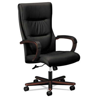 Vl844 Series High-Back Swivel/tilt Chair, Black Leather/mahogany