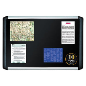 Black Fabric Bulletin Board, 48 X 96, Silver/black