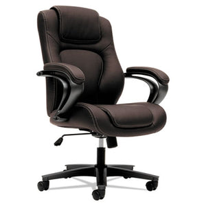 HVL402 SERIES EXECUTIVE HIGH-BACK CHAIR, BROWN VINYL