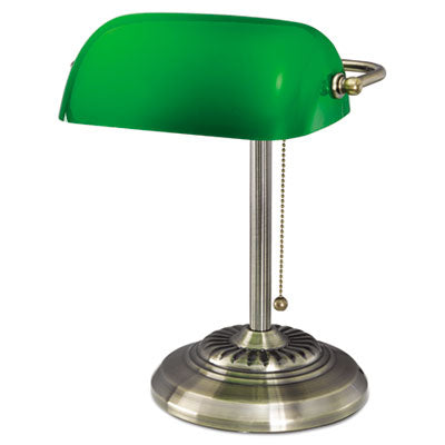 Traditional Banker's Lamp, Green Glass Shade, Antique Brass Base, 14