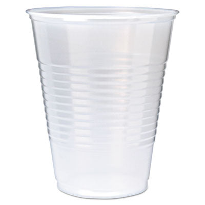 RK RIBBED COLD DRINK CUPS, 12OZ, TRANSLUCENT, 50/SLEEVE, 20 SLEEVES/CARTON