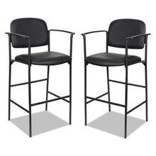 Load image into Gallery viewer, ALERA SORRENTO SERIES STOOL, BLACK, FAUX LEATHER, WITH ARMS, 2 PER CARTON