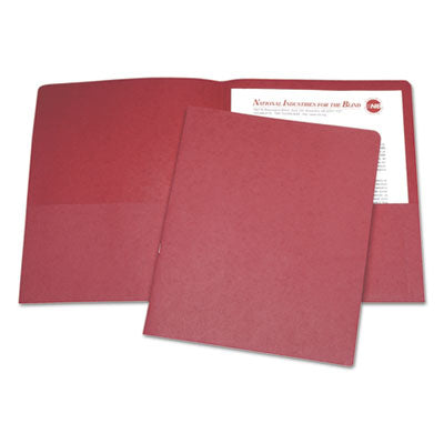 7510015122415 SKILCRAFT DOUBLE POCKET PORTFOLIO, LETTER SIZE, RED, 25/BOX