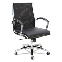 Load image into Gallery viewer, Neratoli Mid-Back Slim Profile Chair, Black, Leather/mesh