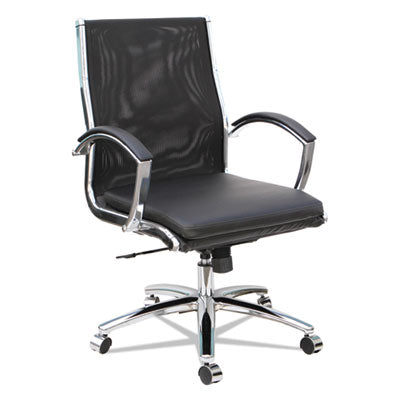 Neratoli Mid-Back Slim Profile Chair, Black, Leather/mesh