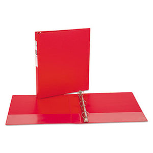 "Economy Non-View Binder With Round Rings, 11 X 8 1/2, 1"" Capacity, Red"