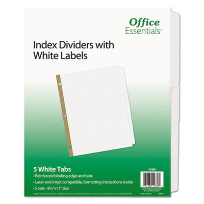 Index Dividers W/white Labels, 5-Tab, Letter, 5 Sets