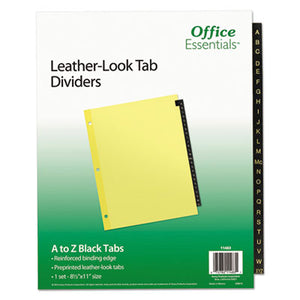 Preprinted Black Leather Tab Dividers, 25-Tab, Letter