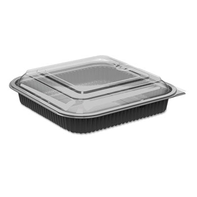 Culinary Squares 2-Piece Microwavable Container, 36oz, Clear/black, 2.25
