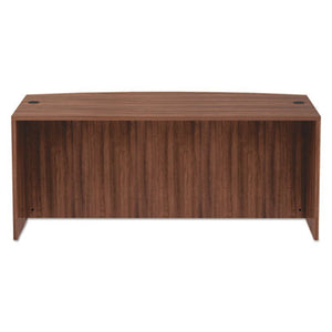 ALERA VALENCIA SERIES BOW FRONT DESK SHELL, 71 X 41 3/8 X 29 5/8, MOD WALNUT