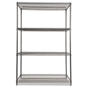 Wire Shelving Starter Kit, Four-Shelf, 48w X 24d X 72h, Black Anthracite