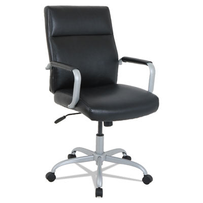 KATHY IRELAND BY ALERA MANITOU SERIES HIGH-BACK LEATHER OFFICE CHAIR, BLACK SEAT