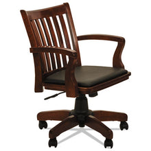 Load image into Gallery viewer, ALERA POSTAL SERIES SLAT-BACK WOOD/LEATHER CHAIR, CHERRY/BLACK