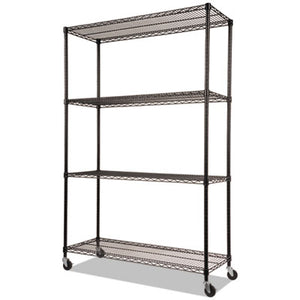 NSF CERTIFIED 4-SHELF WIRE SHELVING KIT W/CASTERS & LINERS, 48 X 18 X 72, BLACK