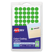 "Load image into Gallery viewer, Handwrite Only Removable Round Color-Coding Labels, 1/2"" Dia, Neon Green, 840/pk"