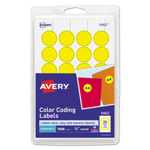 "Load image into Gallery viewer, Printable Removable Color-Coding Labels, 3/4"" Dia, Yellow, 1008/pack"