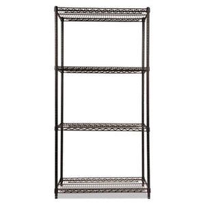 NSF CERTIFIED INDUSTRIAL 4-SHELF WIRE SHELVING KIT, 36 X 18 X 72, BLACK