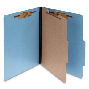Colorlife Presstex Classification Folders, Letter, 4-Section, Light Blue, 10/box
